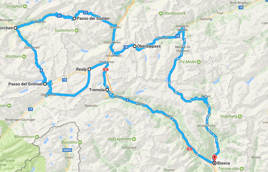 Itinerario in moto sulle Alpi della Svizzera