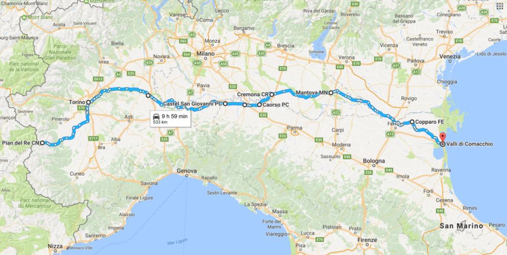Il Po in moto, viaggio nel Nord Italia
