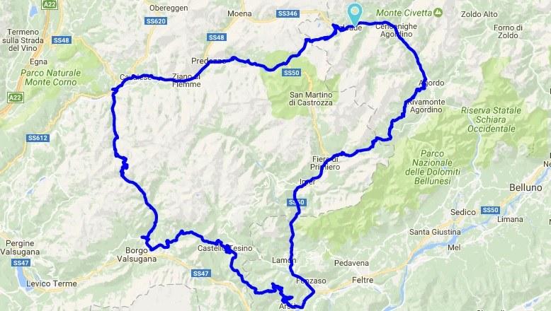 itinerario moto veneto trentino