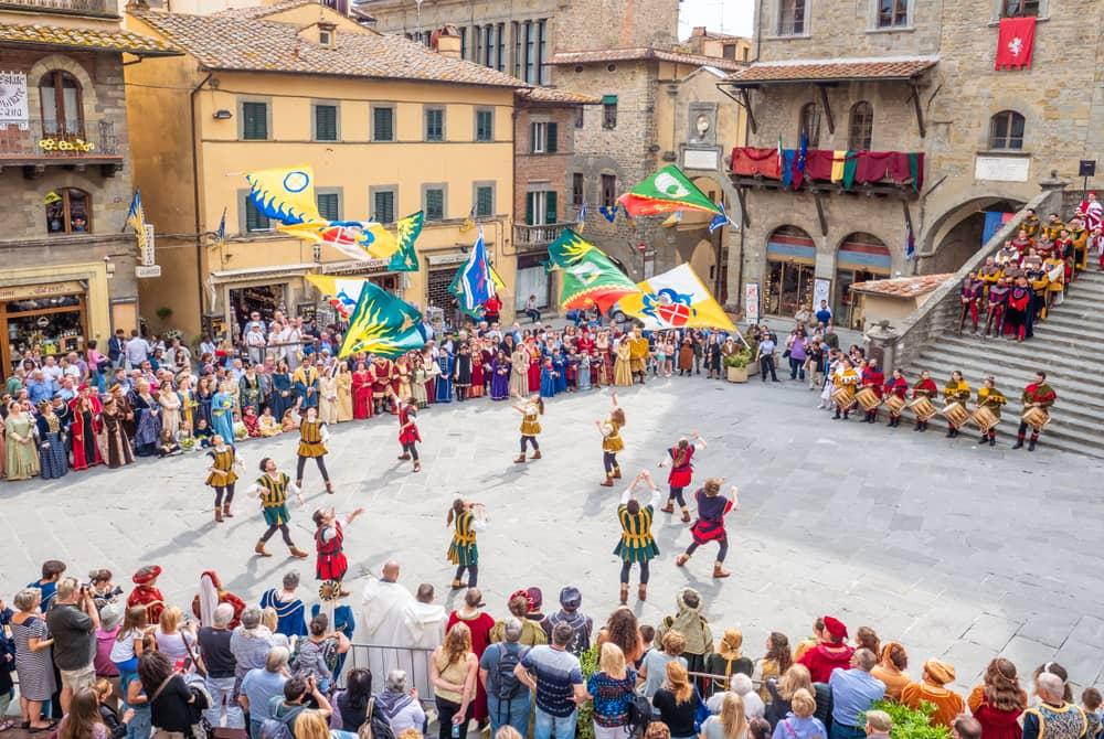 Cortona, centro storico, festa medievale